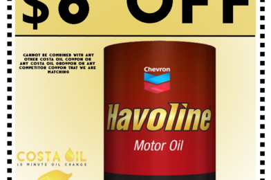 Oil Change Coupon – Take $6 Off Costa Oil – 10 Minute Oil Change – Hanover